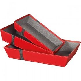 """Barquette rectangle rouges """"Nœud noir"""" - Lot 6"""