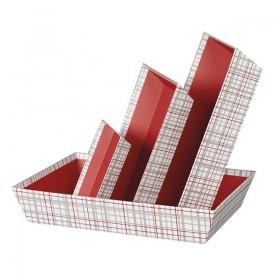 Barquette rectangle carreaux rouge et gris - Lot 6